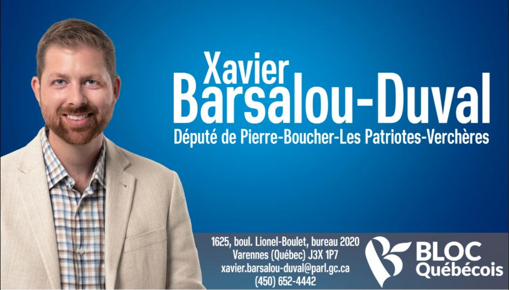 Xavier Barsalou-Duval Vercheres Bloc Québécois